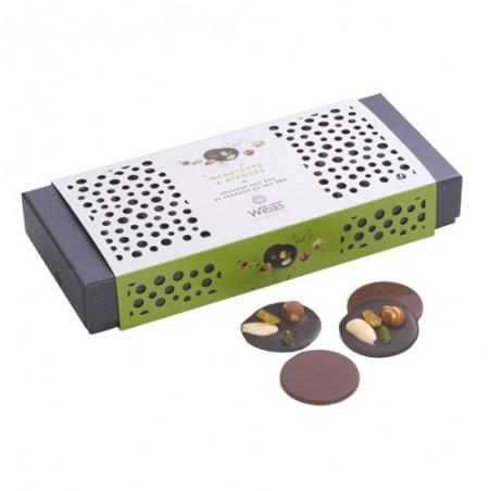 Mendiants et disques - Chocolat noir - Chocolat au lait - Fruits secs - Amandes - Noisette - Coffret à offrir