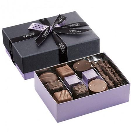 Ballotin Chocolats et Pralinés  - Boîte ouverte avec assortiment chocolats - Boîte fermée