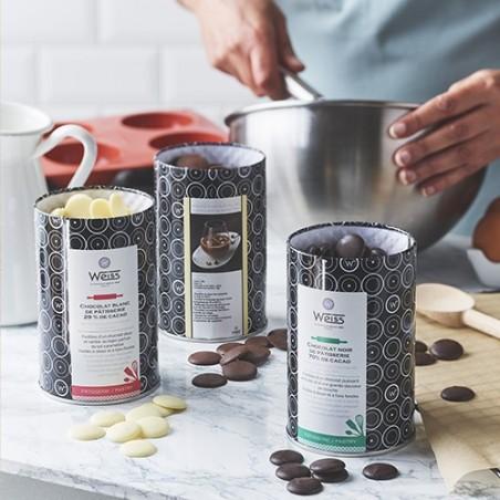 Chocolat à pâtisser - Boîte métal - Pastilles de chocolat - Gamme