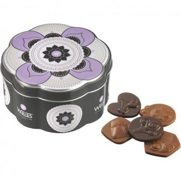 Boîte fleur bisous noir et lait - 200 g