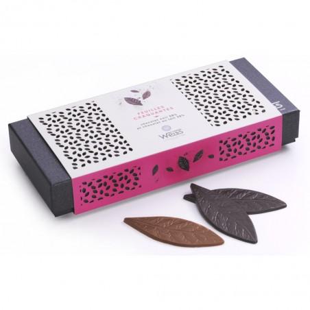 Feuilles chocolat - Chocolat individuel - Chocolat noir - Chocolat au lait - Coffret à offrir