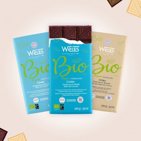 Tablette de chocolat-Chocolat croqué-Chocolat Lait-Chocolat Noir-Chocolat Blanc-Pure Origine-Ceïba-Bio-Equitable