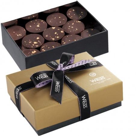 Ballotin Palets Or - Boîte ouverte avec palets or noir - Boîte fermée - Coffret cadeau chocolat - Chocolat à offrir