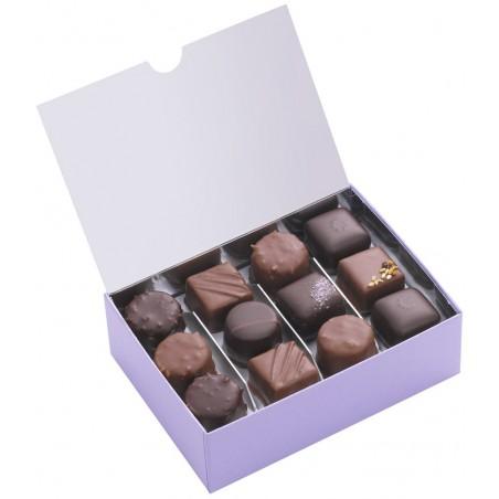 Ballotin de chocolat praliné - Boîte ouverte avec assortiment de chocolats - Coffret cadeau chocolat - Chocolat à offrir
