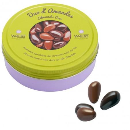 Duo d'amandes - Chocolat au lait - Chocolat noir - Gourmandises - Boîte métal - Amandes