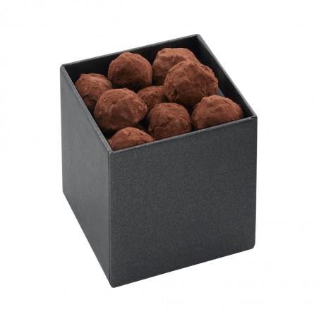 Coffret de chocolat - Coffret de chocolat ouvert - Coffret de chocolat à offrir - Truffe - Chocolat noir - cacao 100% -