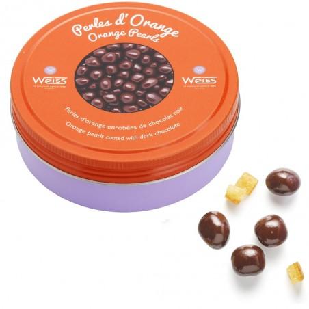 Perles d'orange - Chocolat noir - Gourmandises - Boîte métal - Ecorces d'orange