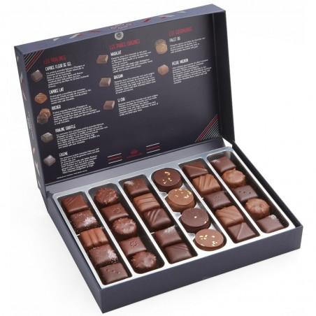 Moussaillon - Coffret ouvert avec assortiment de chocolats - Coffret cadeau chocolat - Chocolat à offrir