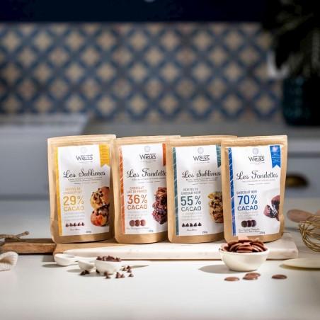 Chocolats noir et lait à pâtisser - Packagings fermés - Gamme 250g