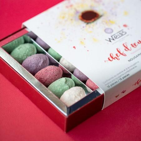 Nougamandines - Coffret chef d'œuvre entre ouvert - Coffret cadeau chocolat - Chocolat à offrir