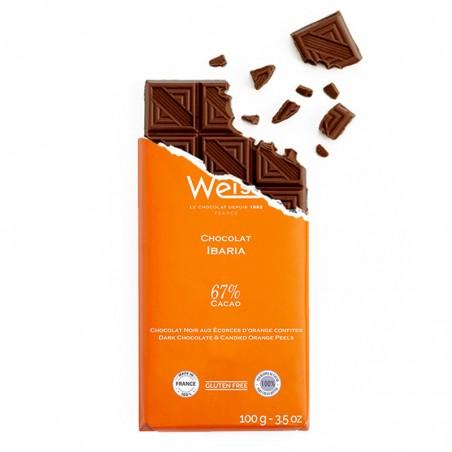 Tablette de chocolat-Chocolat croqué-Chocolat noir-écorces d'orange-Orange-Ibaria
