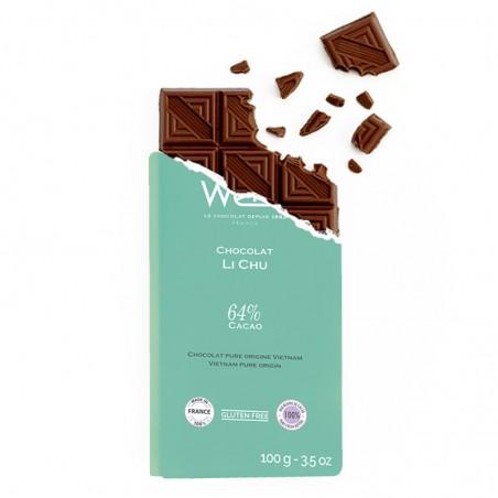 Tablette de chocolat-Chocolat croqué-Chocolat noir-Pure origine- Vietnam-Li chu-Bio-Equitable