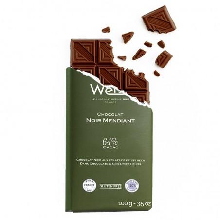 Tablette de chocolat-Chocolat croqué-Chocolat noir-Mendiant-Pistache-Noisette-Amande-Raisin