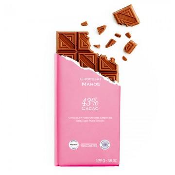 Tablette de chocolat-Chocolat croqué-Chocolat Lait-Pure Origine-Mahoë