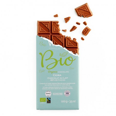 Tablette de chocolat-Chocolat croqué-Chocolat Lait-Pure Origine-République Dominicaine-Ceïba-Bio