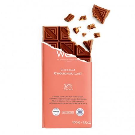 Tablette de chocolat-Chocolat croqué-Chocolat Lait-Chocolat Noir-Chocolat Lait-Chouchou Lait- Chouchous caramélisés