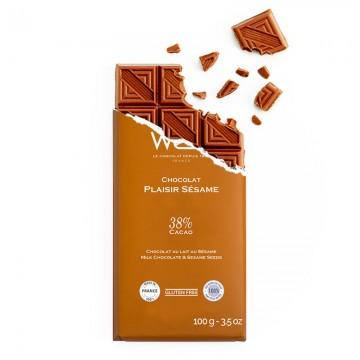 Tablette de chocolat-Chocolat croqué-Chocolat Lait-Plaisir Sésame