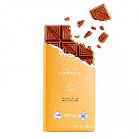 Tablette de chocolat-Chocolat croqué-Chocolat Lait-Lait Entier de France