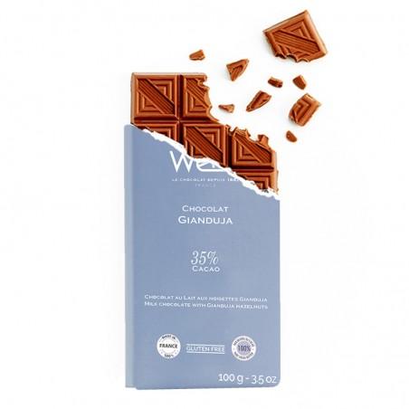 Tablette de chocolat-Chocolat croqué-Chocolat Praliné-Noisette torréfiées- Gianduja