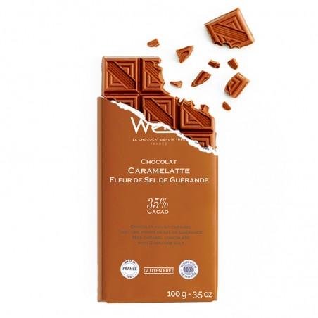 Tablette de chocolat-Chocolat croqué-Chocolat Lait-Fleur de sel de Guérande-Caramelatte