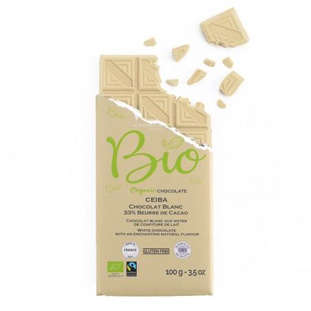 Tablette de chocolat-Chocolat croqué-Chocolat Blanc-Pure Origine-République Dominicaine-Ceïba-Bio