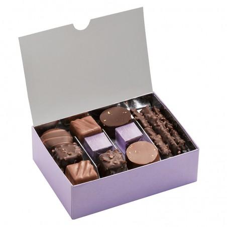 Ballotin Chocolats et Pralinés  - Boîte ouverte avec assortiment chocolats - Coffret cadeau chocolat - Chocolat à offrir
