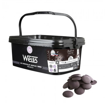Chocolat à pâtisser - Pastilles de chocolats noir - Seau de pastilles de chocolat noir- Ebène