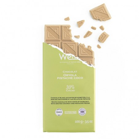 Tablette de chocolat-Chocolat croqué-Chocolat Blond-Oryola-Chocolat Oryola-Pistache
