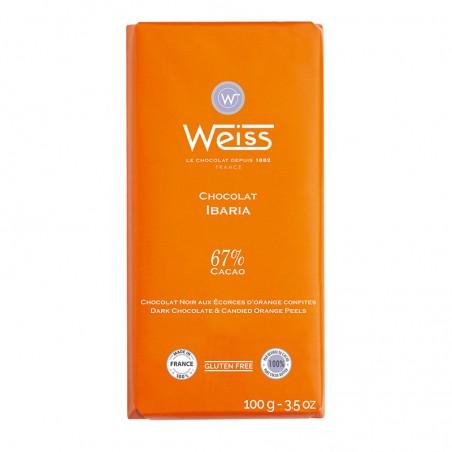 Tablette de chocolat-Chocolat noir-écorces d'orange-Orange-Ibaria