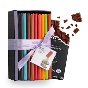 Tablette de chocolat-Gamme de Tablette-Chocolat à Offrir-Coffret à Offrir-Chocolat Lait-Chocolat Noir-Chocolat Blanc