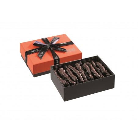 Ballotin de chocolat-Orange-Orange de Navel-Oranges enrobées-Ballotin ouvert-Chocolat noir- grain de nougatine