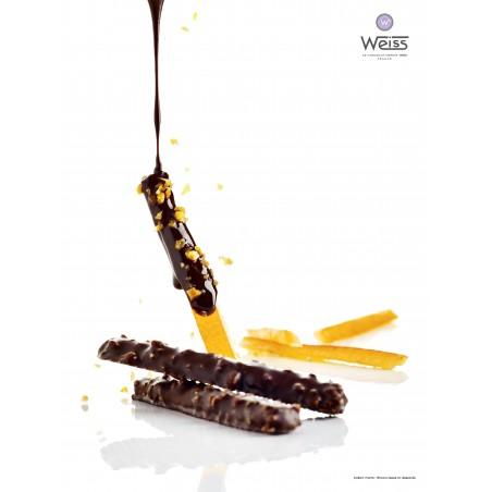 Orange-Orange de Navel-Oranges enrobées-Chocolat noir- grain de nougatine-chocolat coulant - bâton d'orangette