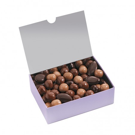 Ballotin de chocolat - assortiment de turbinés - Chocolat noir - chocolat lait- chocolat blond - coffret ouvert -