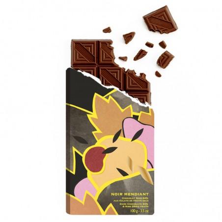 Tablette de chocolat - Chocolat noir - chocolat croqué -Mendiant - chocolat de Noël - Chocolat à offrir- Lucie Albon