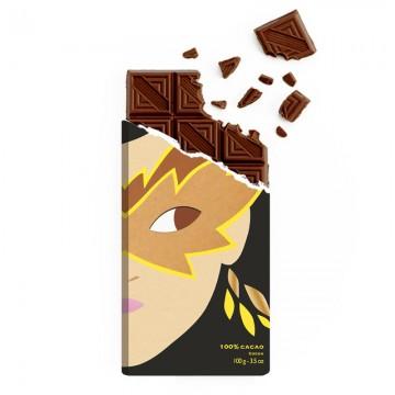Tablette de chocolat - Chocolat noir - Chocolat 100% cacao -chocolat croqué -chocolat de Noël - Chocolat à offrir- Lucie Albon