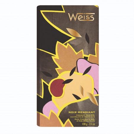 Tablette de chocolat - Chocolat noir - tablette entière -Mendiant - chocolat de Noël - Chocolat à offrir- Lucie Albon