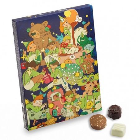 Calendrier de l'avent - chocolat de noël - assortiment de chocolat - Lucie Albon - Illustration - chocolat enfant