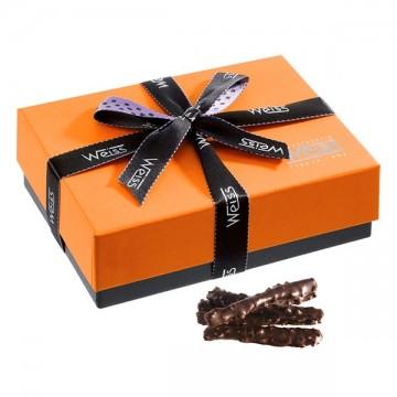 Ballotin de chocolat-Orange-Orange de Navel-Oranges enrobées-Ballotin fermé-Chocolat noir- grain de nougatine