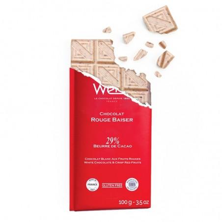 Tablette de chocolat - Chocolat blanc -Eclat de fruit rouge - tablette croqué - chocolat de noël - chocolat à offrir