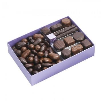Ballotin de chocolat - chocolat à offrir - Turbiné - Boite ouverte - chocolat de Noël - Ruban - Lucie Albon - Illustration